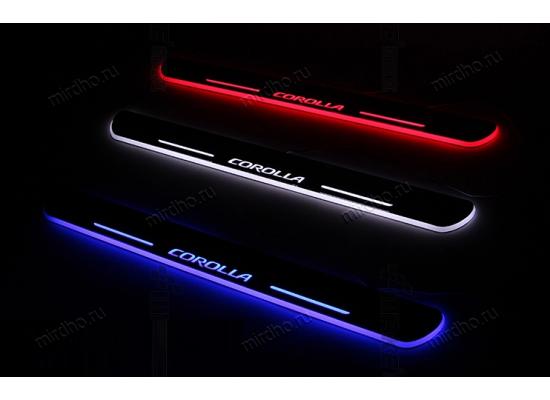 Накладки на пороги с LED подсветкой (фото)