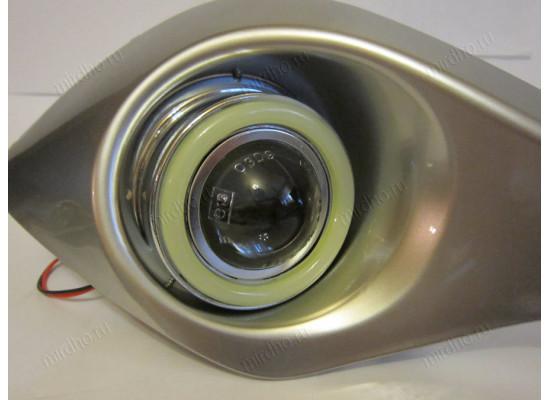 Противотуманные фары с ангельскими глазками для Toyota Highlander 2 Рестаилинг 2010-13