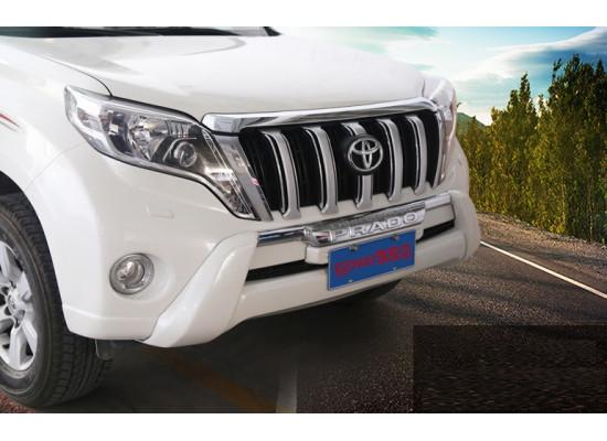 Накладка на передний бампер Toyota Land Cruiser Prado Рестайлинг 1 2013-17 (фото)