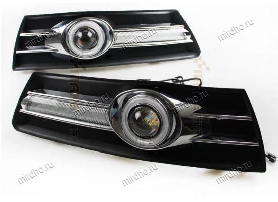 Линзованные ПТФ с ангельскими глазками и с ДХО Китай для Volkswagen Passat CC 2008-11