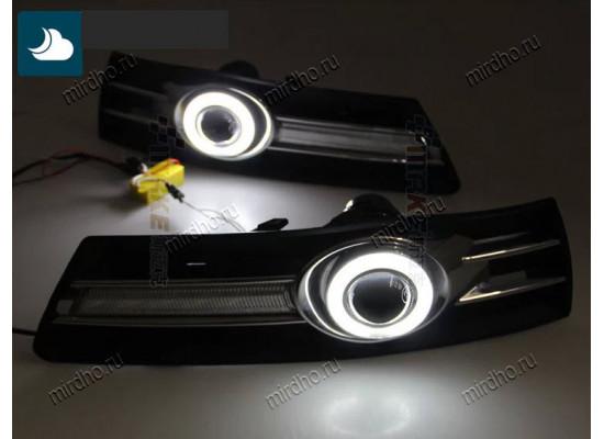 Линзованные ПТФ с ангельскими глазками и с ДХО Китай для Volkswagen Passat CC 2008-11 (фото)
