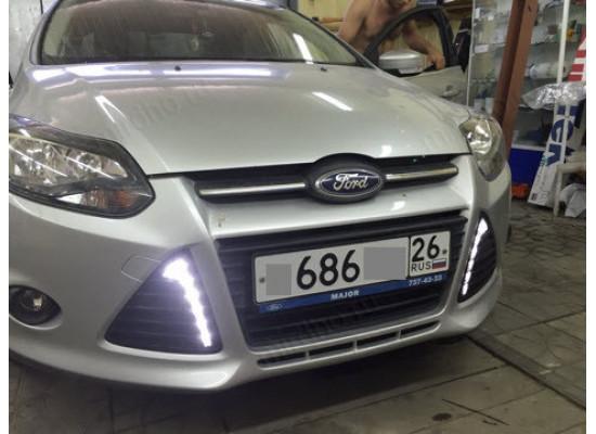 ДХО для Ford Focus 3 глянцевый пластик (Титаниум) с поворотниками и без (фото)
