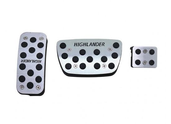 Накладки на педали + ножной тормоз для Toyota Highlander 3 2013-16 (фото)