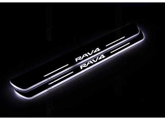 Накладки на пороги LED для Toyota RAV 4 13-15
