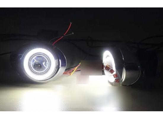 Линзованные противотуманные фары с ДХО для Ford Focus 3 2011-15 дорестайлинг (фото)