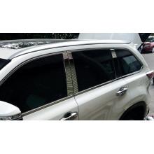 Вертикальные хромированные накладки на окна для Toyota Highlander 3 2013-по н.в. (фото)