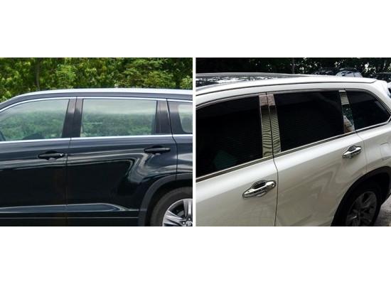 Хромированные накладки на окна для Toyota Highlander 3 2013-по н.в.