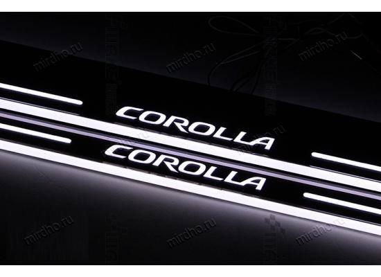Накладки на пороги LED для Toyota Corolla с 2014- (фото)
