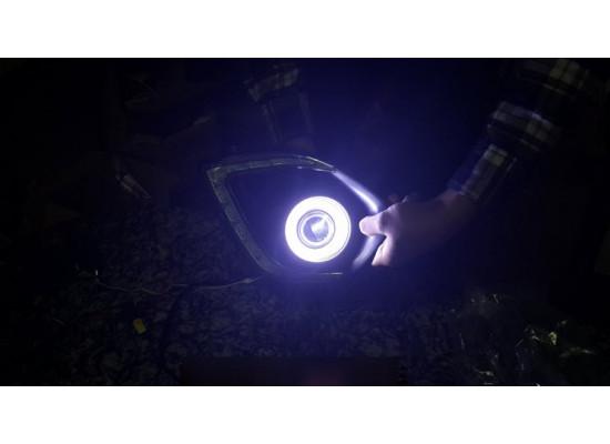 Линзованные противотуманные фары с ДХО Ангельские глазки на ASX 2012-2016 (фото)