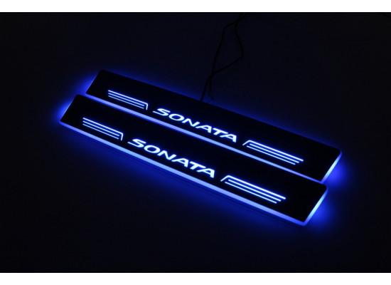 Накладки на пороги LED для Hyundai Sonata
