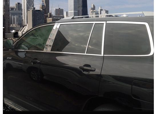 Хром на окна на Toyota Highlander 2 Рестайлинг 2010-13 (фото)