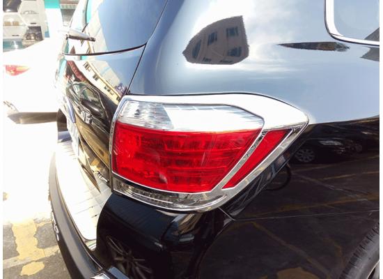 Хром накладки на фары и задние фонари для Toyota Highlander 2 Рестайлинг 2010-13