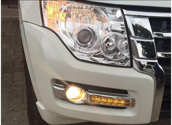 ДХО и ПТФ для Mitsubishi Pajero 4 Рестайлинг 2 2014-по н.в. (фото)