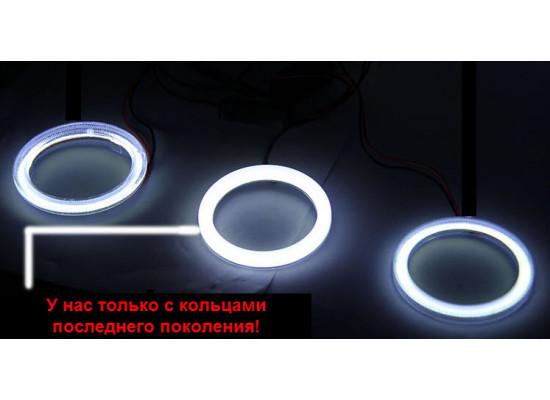 Линзованные противотуманные фары с ангельскими глазками для KIA Sportage 2 2008-10 (фото)