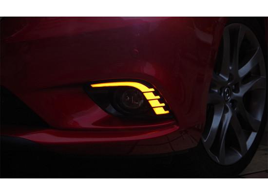 Дневные ходовые огни с поворотниками для Mazda 6 2012-2015 в стиле Mustang