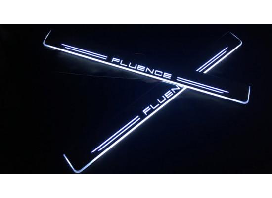 Накладки на пороги LED для Renault Fluence