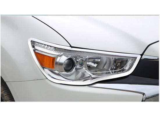 Хромированные накладки на передние и задние фары для Mitsubishi ASX 2012-н.в. (фото)