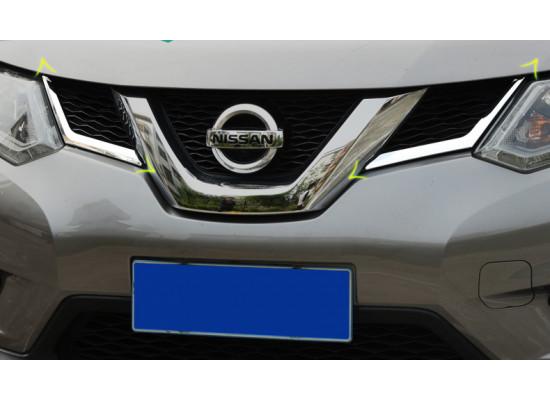 Хромированные накладки на решетку генератора между фар для Nissan X-Trail 3 2013-н.в