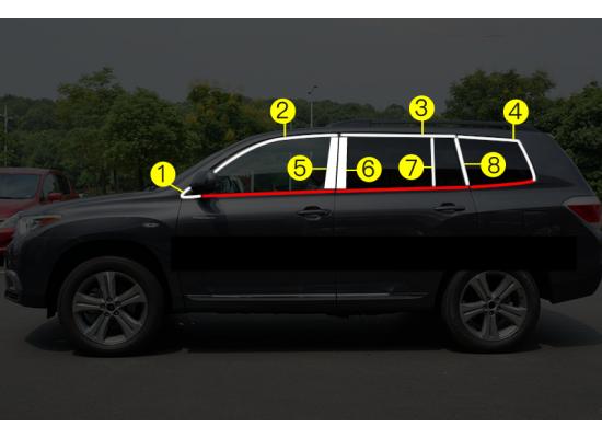 Хромированные накладки на окна для Toyota Highlander 2 2010-2013