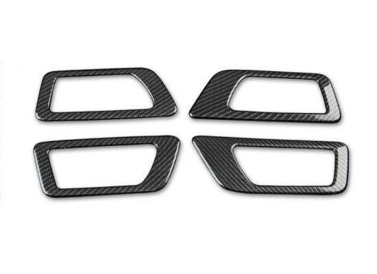 Карбоновые накладки на рамки внутренних ручек для Toyota Highlander 3 2016-н.в. (фото)